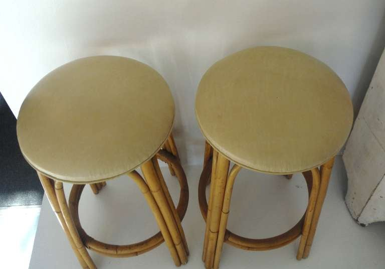 Fantastic Pair Of Bamboo Bar Stools W Leather Seats At