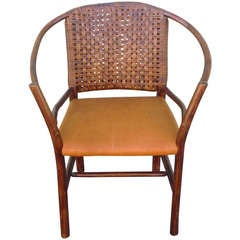 1930's Old Hickory Barrel Back Side Chair W/ Leather Seat
