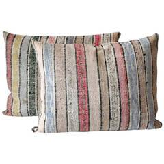 Pair of Striped Rag Rug Pillows