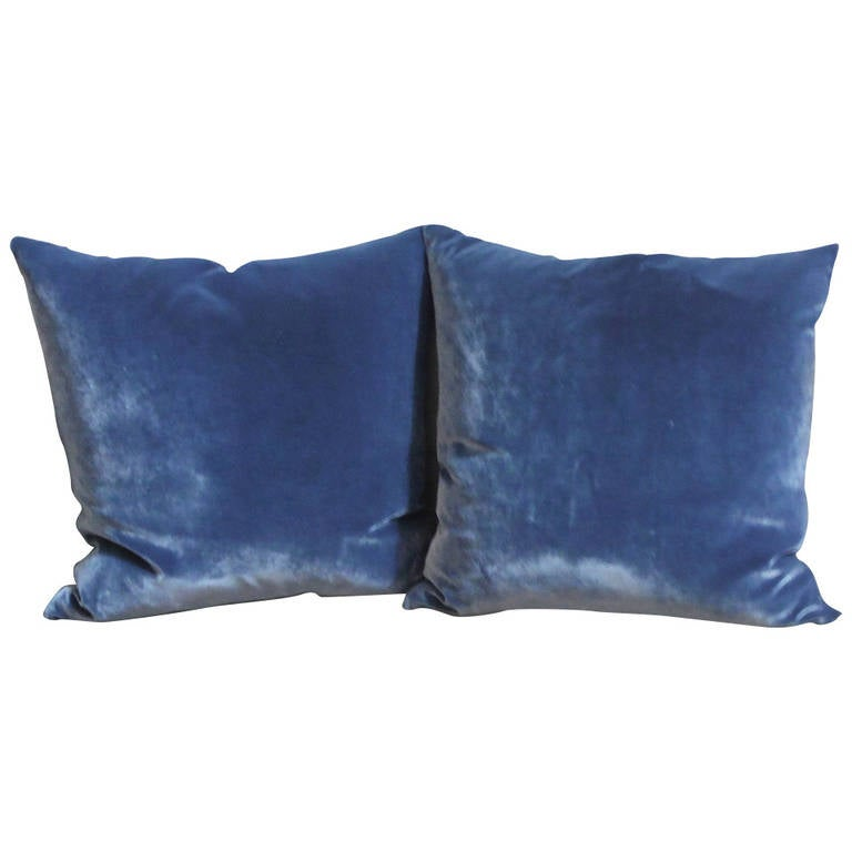 Blue Velvet Throw Pillows : Pair of Blue Velvet Pillows at 1stdibs