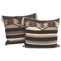Fantastic Pair of Geometric  Navajo Indian Weaving Pillows