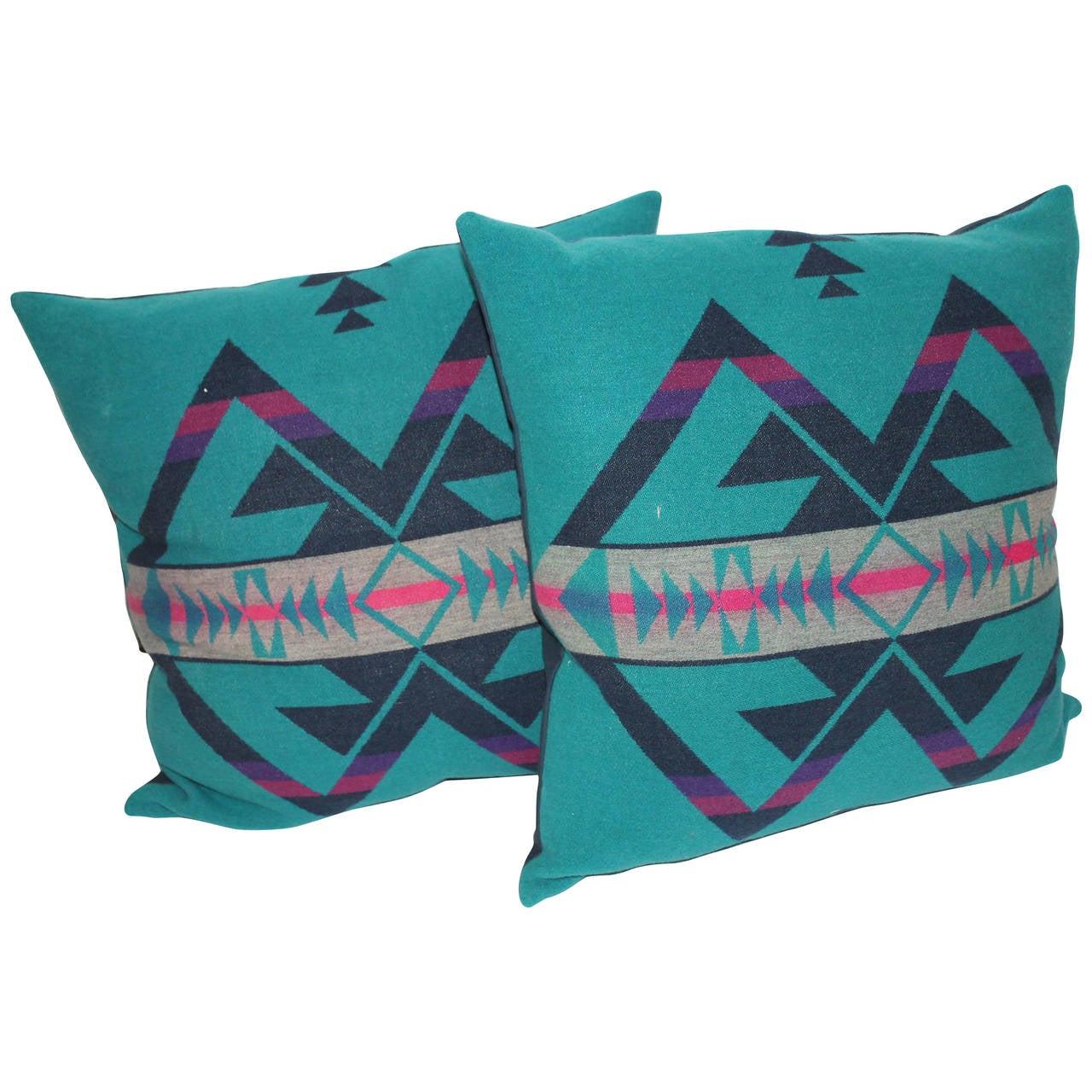 Pair of Amazing Cayuse Pendleton Indian Blanket Pillows