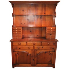 Handmade Signed and Dated Pine Stepback Apothecary or Hutch