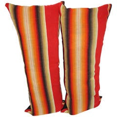 Early Mexican Striped Wool Serape Big Bolster Pillows