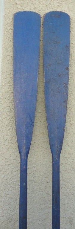 American Fantastic & Unusual 19thc Original Blue Painted Oars From Maine