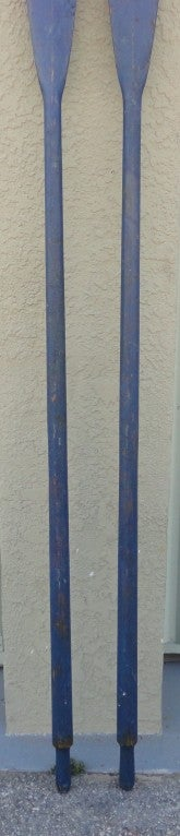 19th Century Fantastic & Unusual 19thc Original Blue Painted Oars From Maine