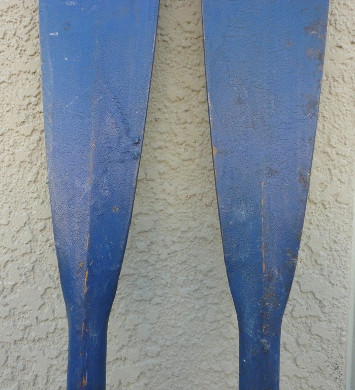 Fantastic & Unusual 19thc Original Blue Painted Oars From Maine 2