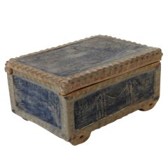 Fantastic Signed & Dated  Blue Pottery Box W/ New York City Pics