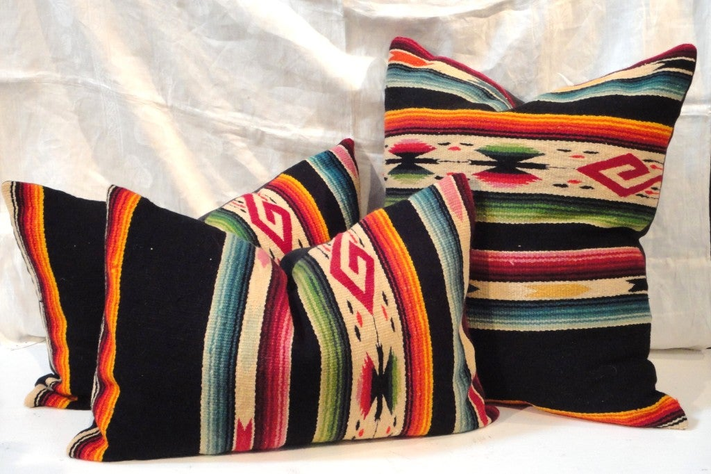 1930'S Fantastic Hand woven woolen Mexican  Indian serape pillows.Sold individually .1- 25x31 / 2-17x26  Total three in stock.