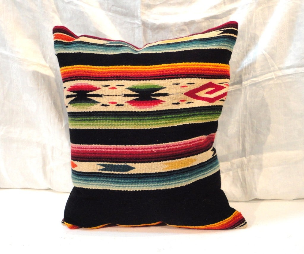Fantastic Hand Woven Mexican Indian Sarape Pillows For Sale 1