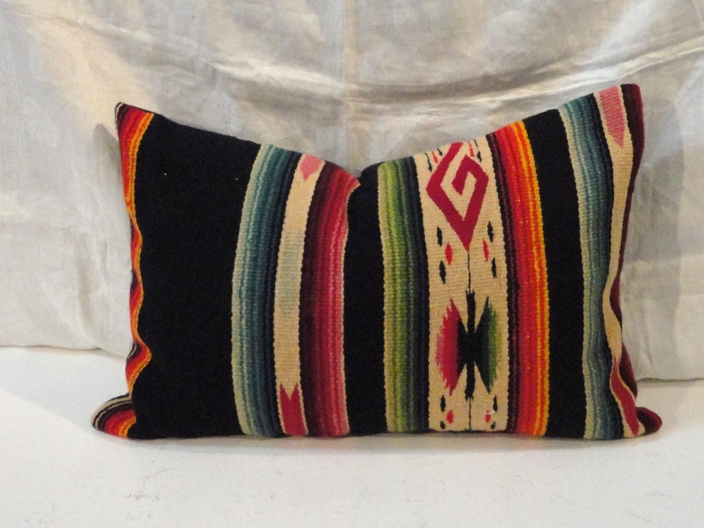Fantastic Hand Woven Mexican Indian Sarape Pillows For Sale 3