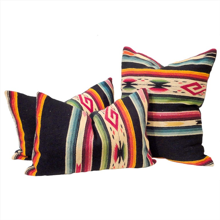 Fantastic Hand Woven Mexican Indian Sarape Pillows For Sale
