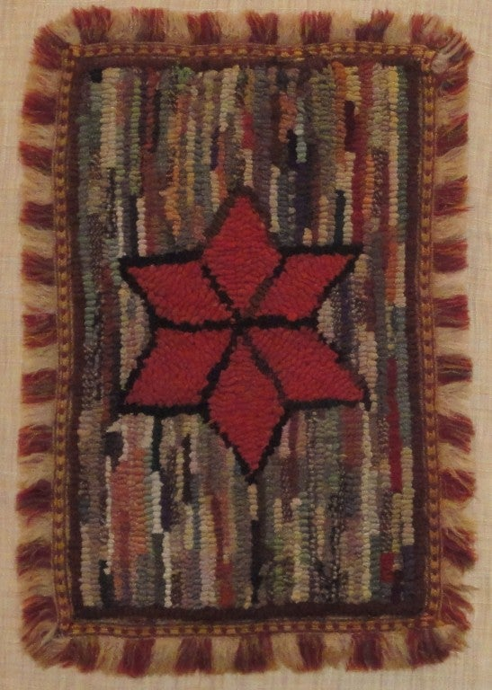 Folk Art Fantastic Miniature Mounted 19th Century Hand-Hooked Rug on Board For Sale