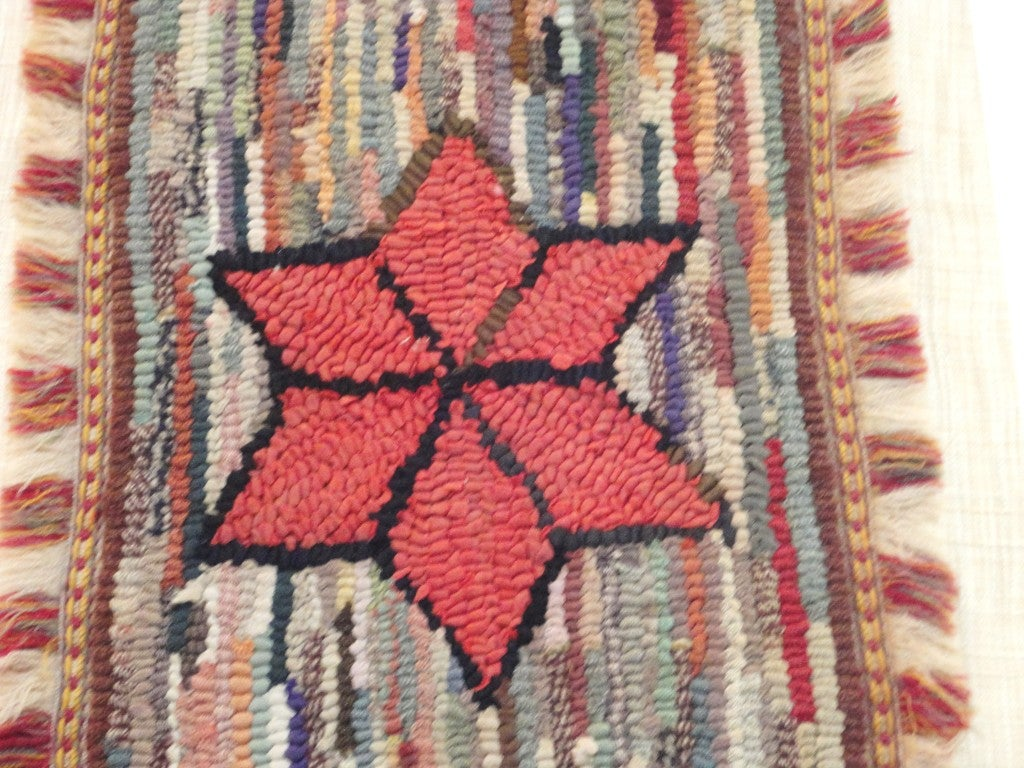 American Fantastic Miniature Mounted 19th Century Hand-Hooked Rug on Board For Sale