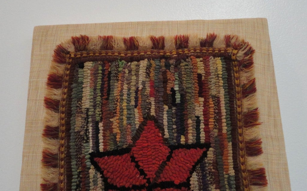 Woven Fantastic Miniature Mounted 19th Century Hand-Hooked Rug on Board For Sale