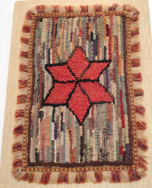 Wool Fantastic Miniature Mounted 19th Century Hand-Hooked Rug on Board For Sale