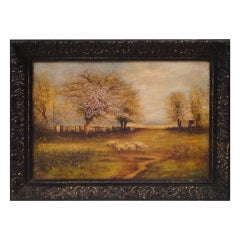 Signed & Dated  1884/P.Rauch  Oil Painting Of Sheep  In Frame