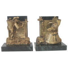 Pair of Bronze Monkey and Green Marble Bookends