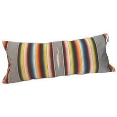 Large Grey Mexican Serape Bolster Pillow