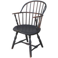 18th Century Original Painted and Signed New England Windsor Armchair