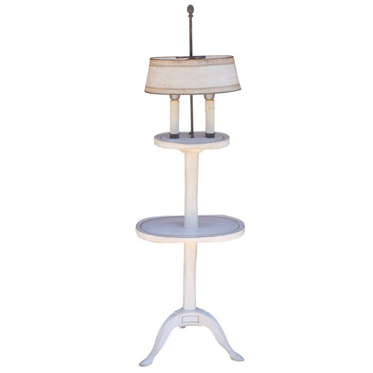 Amazing white painted floor lamp with tole painted tin for White painted floor lamp