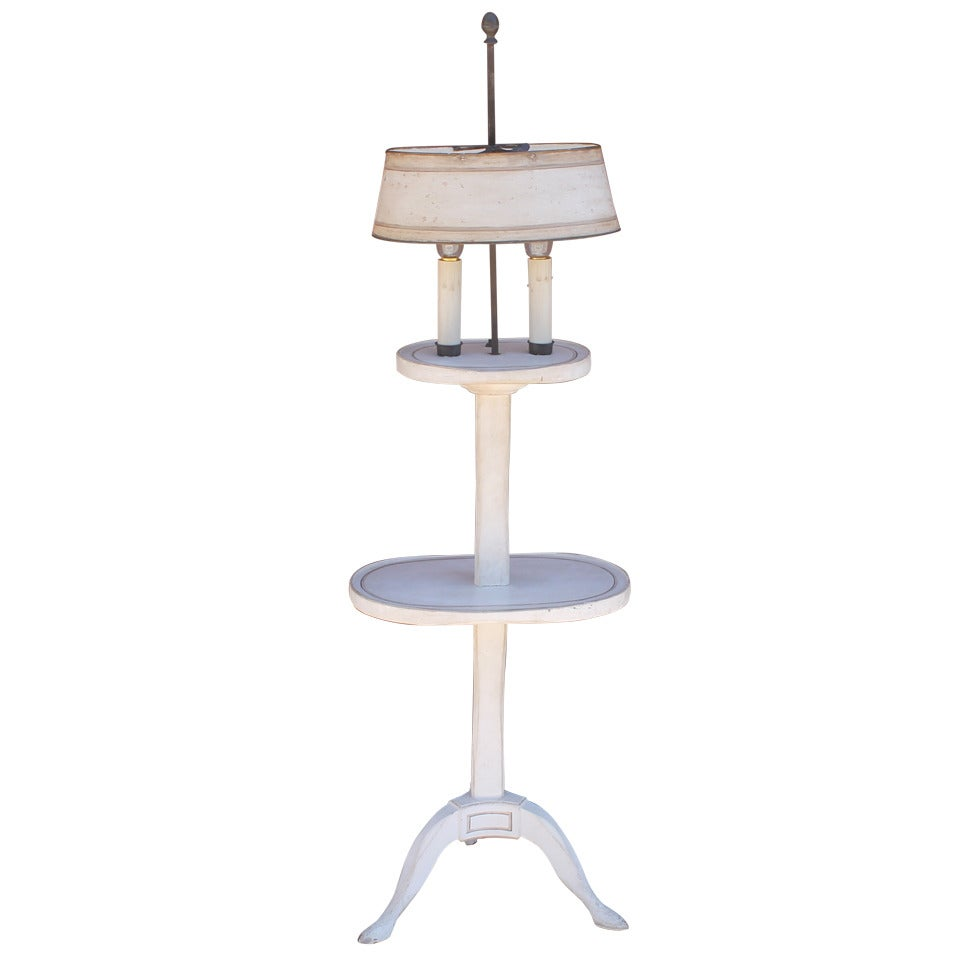 Amazing White Painted Floor Lamp with Tole Painted Tin Shade