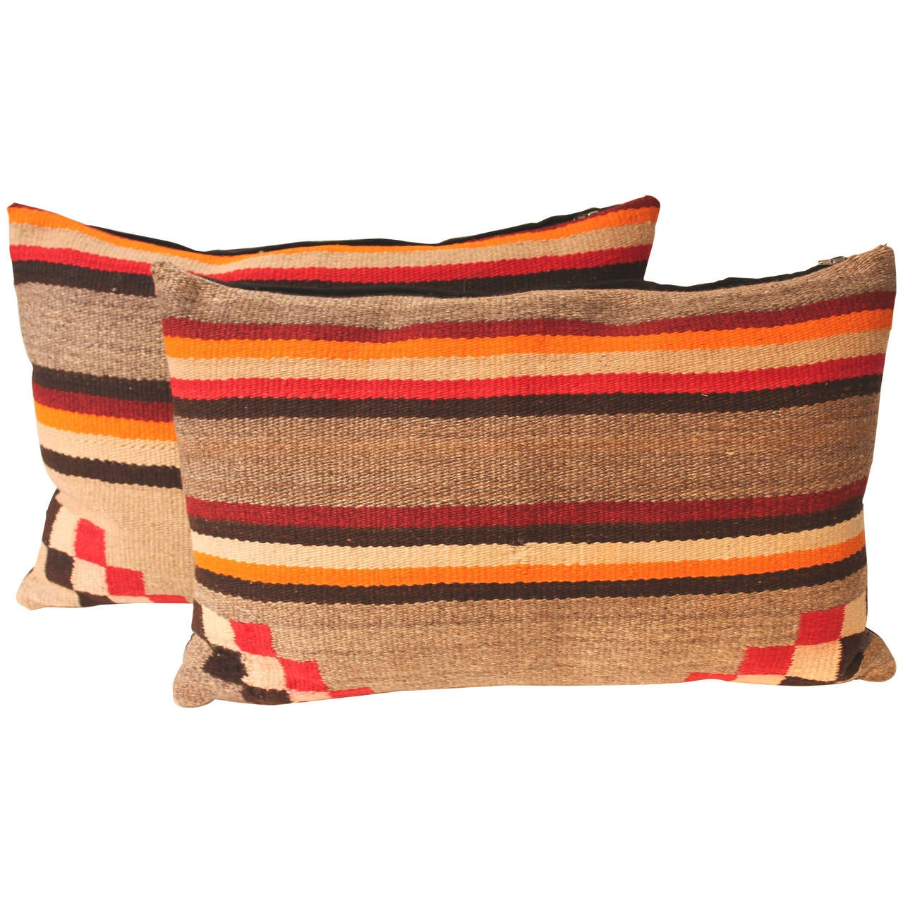 Pair Of Navajo Saddle Blanket Weaving Pillows At 1stdibs