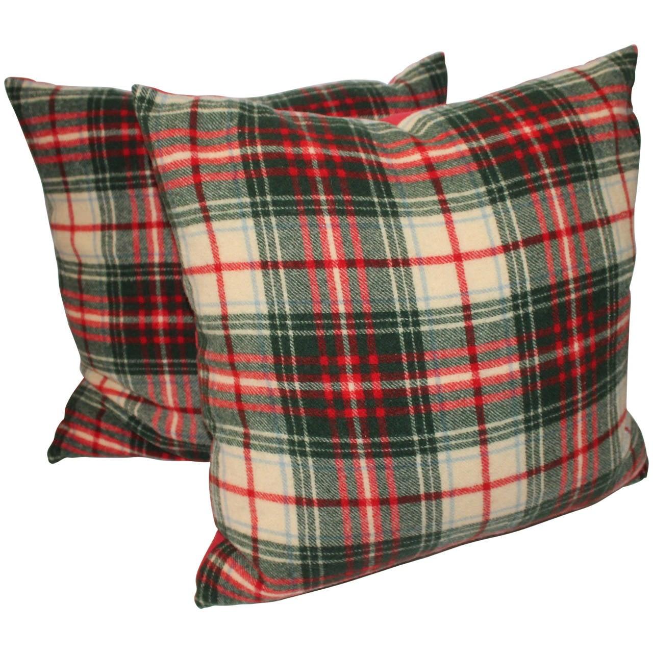 Pair of Wool Plaid Pillows