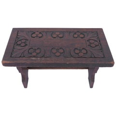 19th Century Hand-Carved Walnut Foot Stool