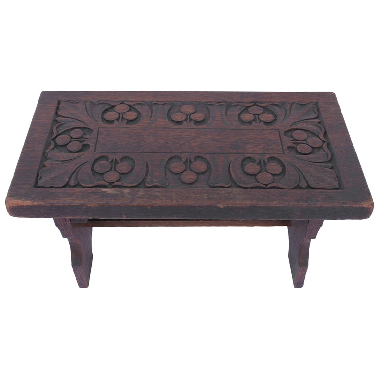 19th Century Hand-Carved Walnut Foot Stool For Sale