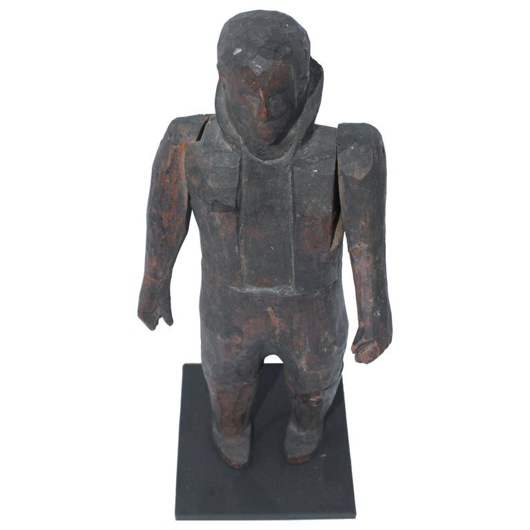 Early 19th Century Folk Art Hand-Carved Gentleman Sculpture For Sale