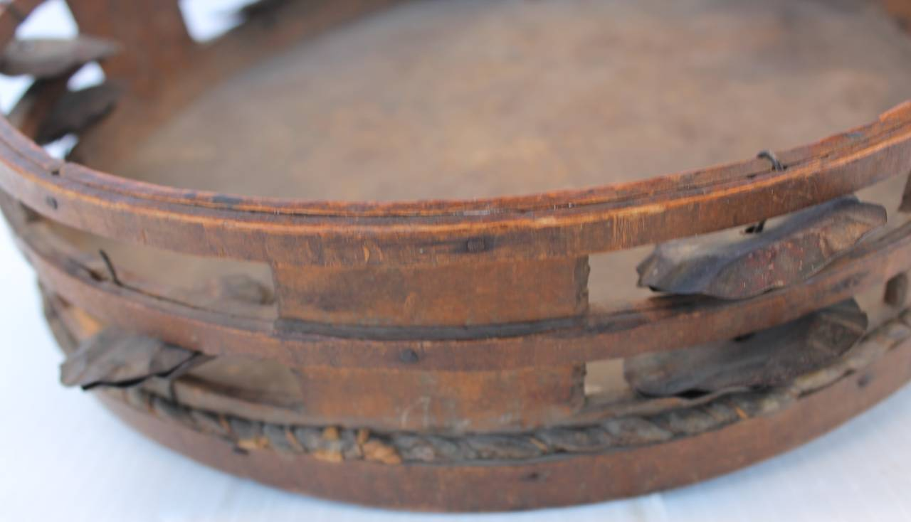 Cowhide Early 19th Century  American Tambourine from New England For Sale