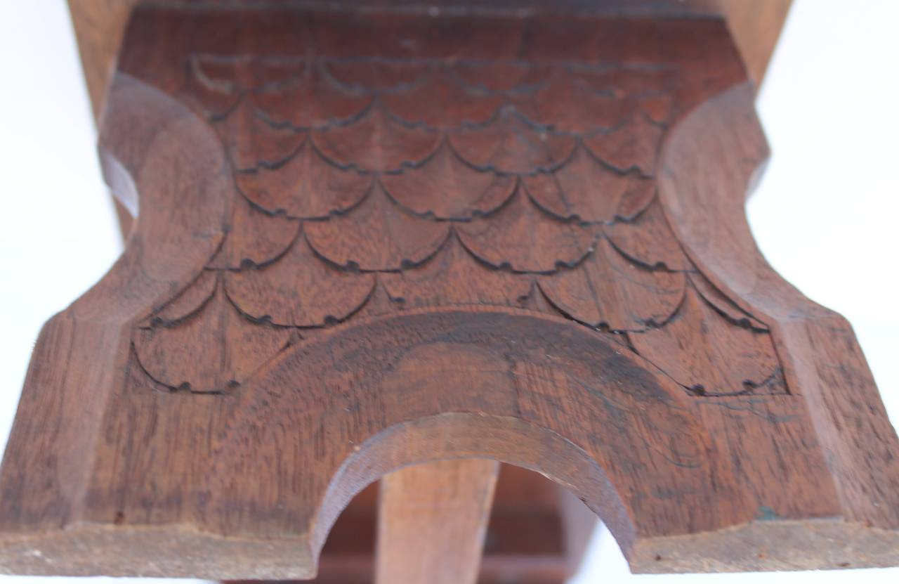 Adirondack 19th Century Hand-Carved Walnut Foot Stool For Sale