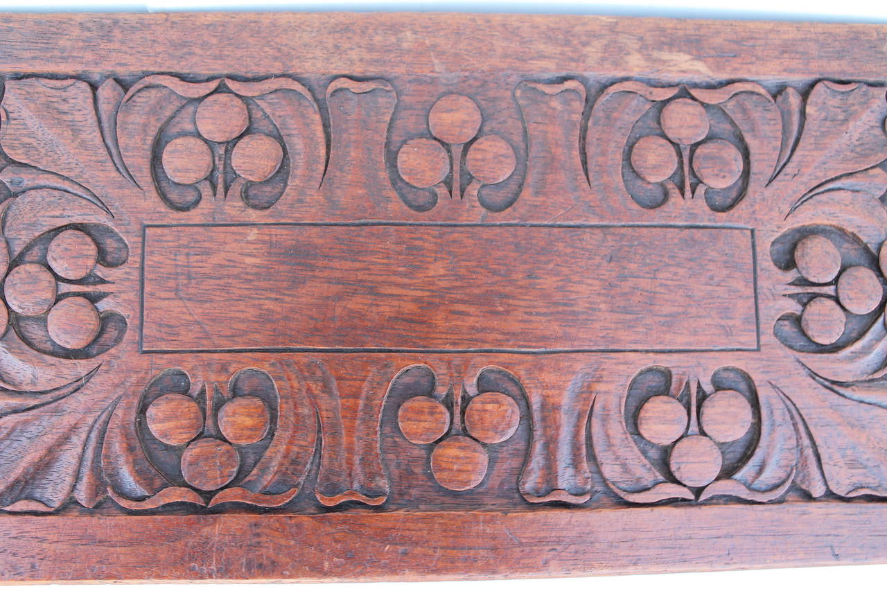 American 19th Century Hand-Carved Walnut Foot Stool For Sale