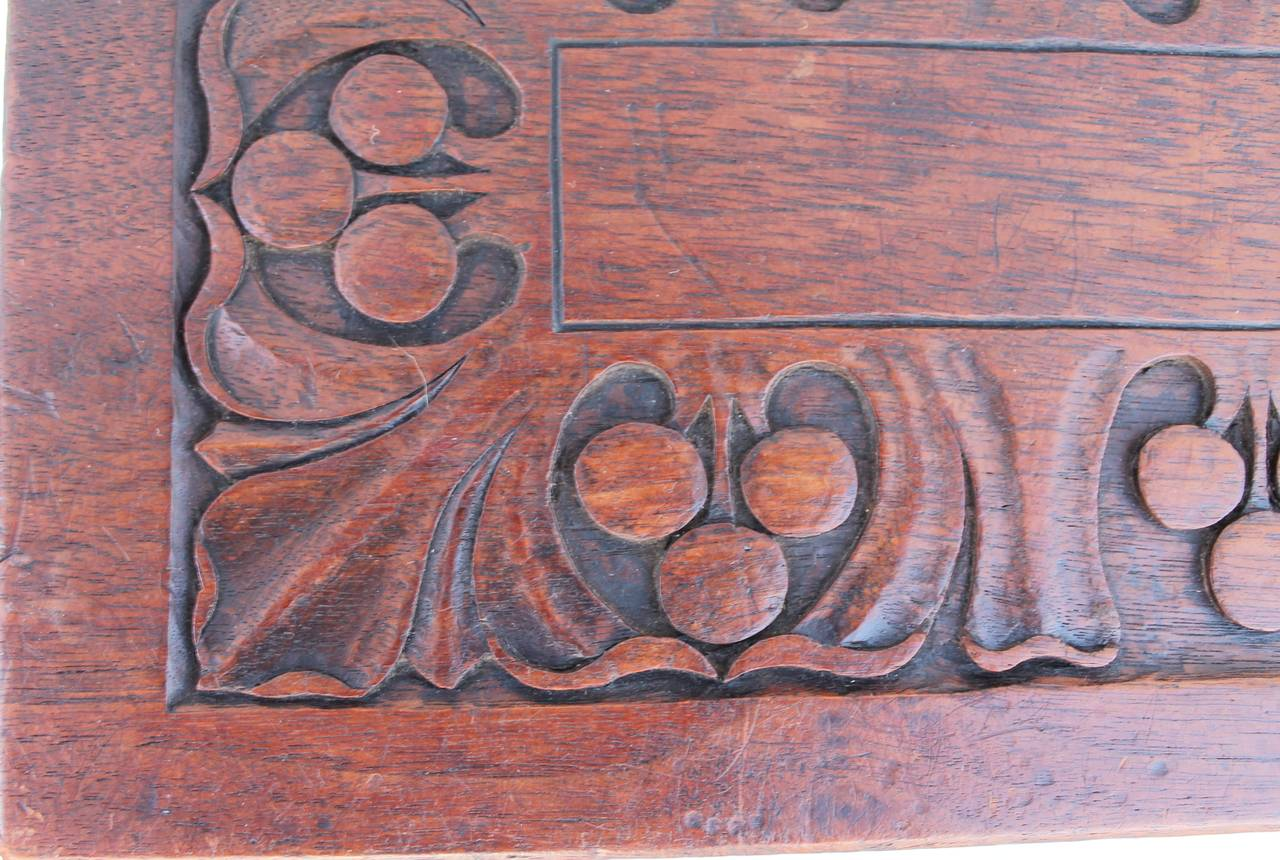 19th Century Hand-Carved Walnut Foot Stool In Distressed Condition For Sale In Los Angeles, CA