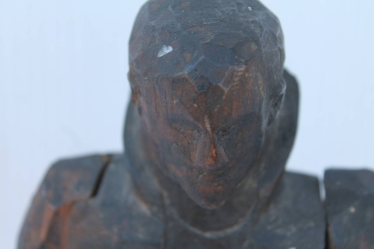 Early 19th Century Folk Art Hand-Carved Gentleman Sculpture For Sale 1
