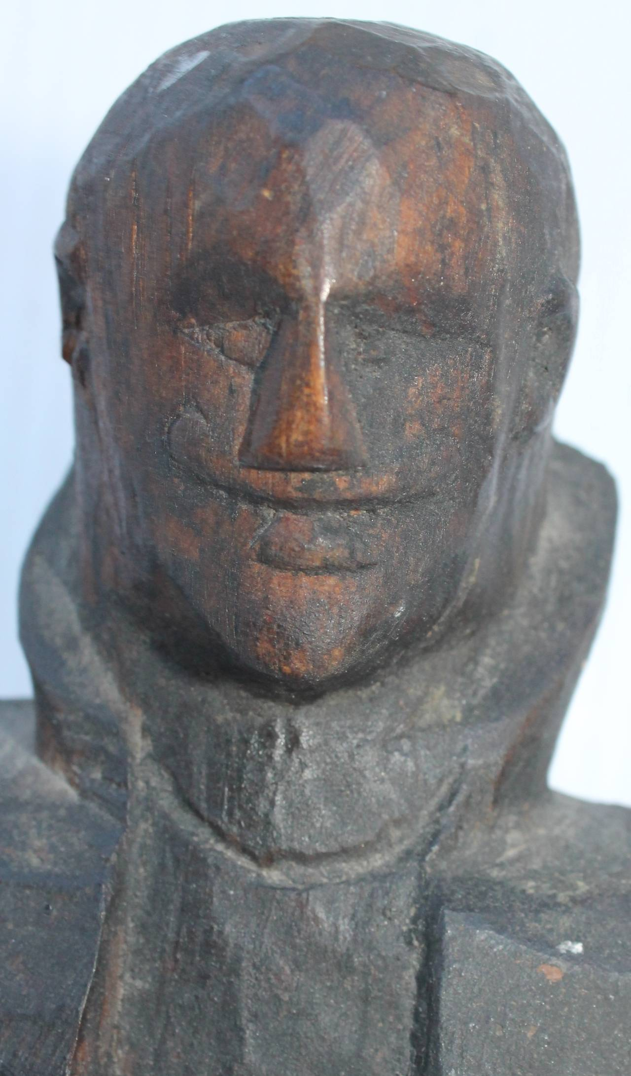 Wood Early 19th Century Folk Art Hand-Carved Gentleman Sculpture For Sale