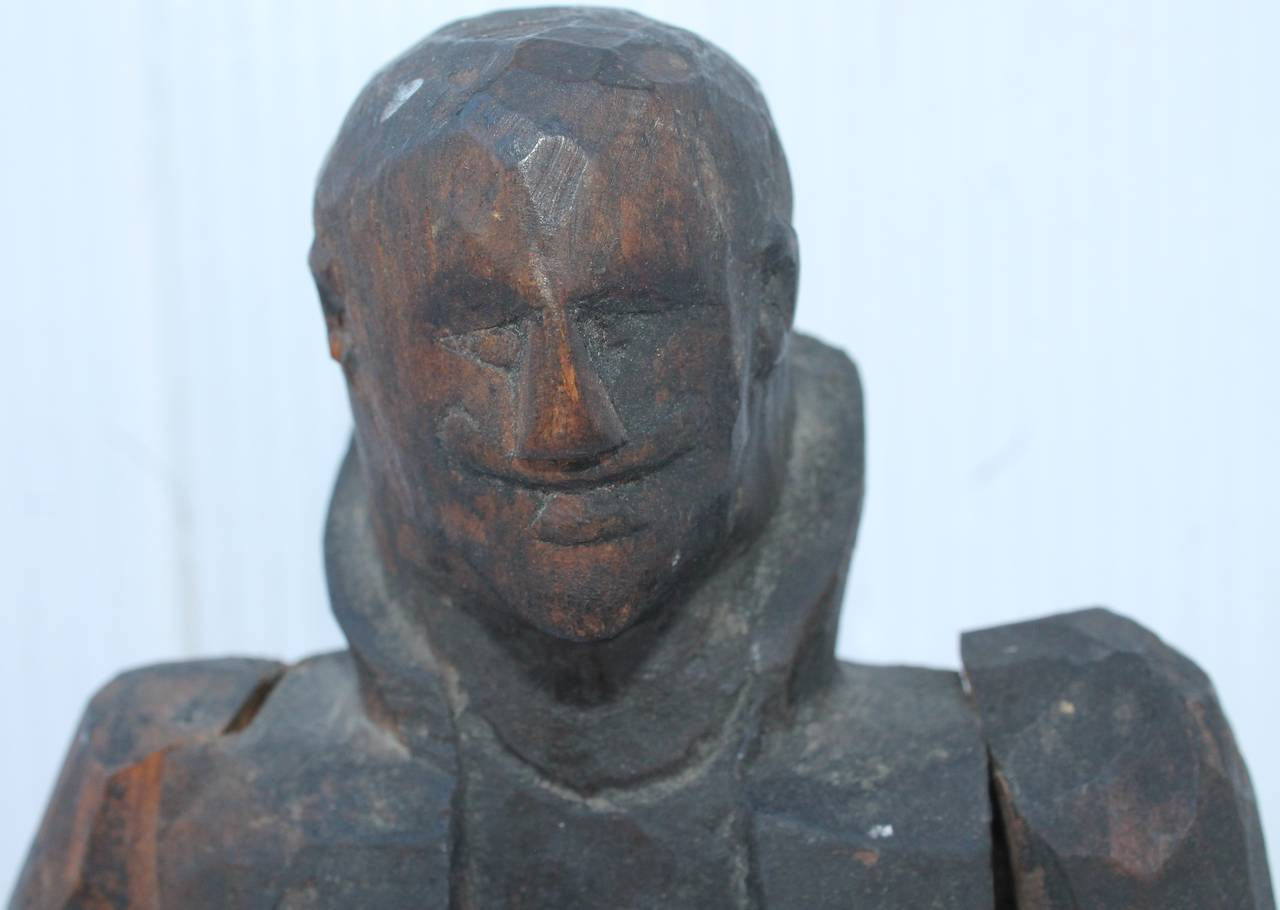 Early 19th Century Folk Art Hand-Carved Gentleman Sculpture In Good Condition For Sale In Los Angeles, CA