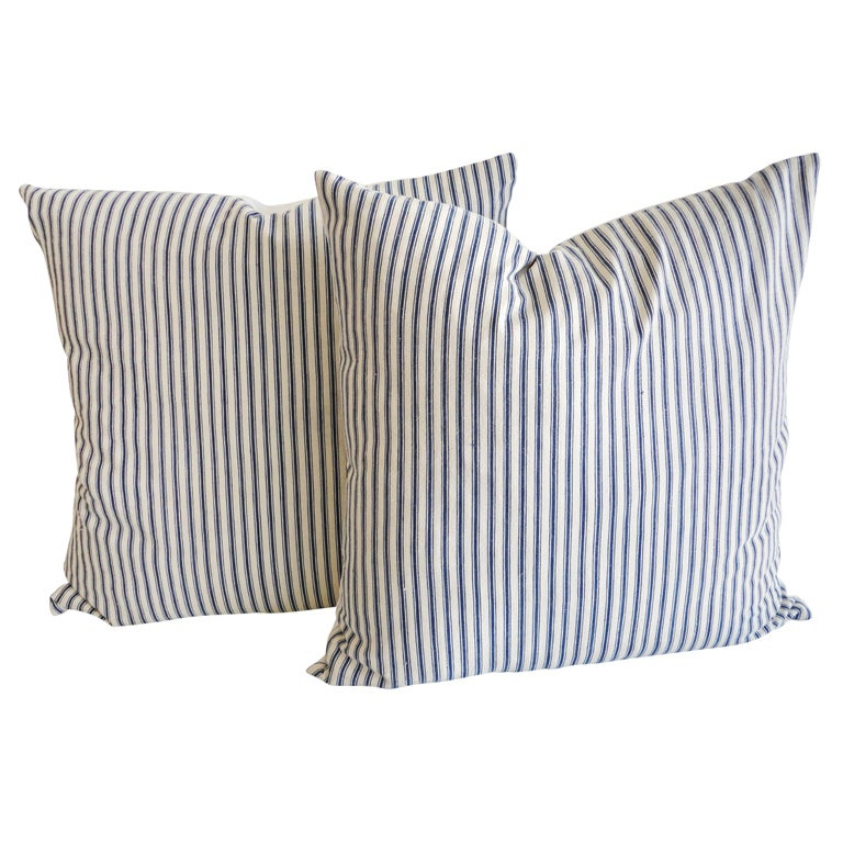 American pillows in blue-and-white-striped ticking, 19th century