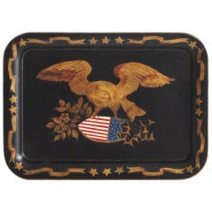 Early 20thc Tole Tray W/ Painted Eagle on Shield