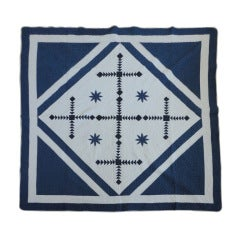Fantastic 19th Century Blue and White Unusual Center Square Pattern Quilt