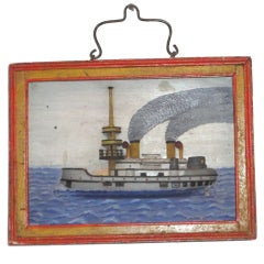 19THC Folky Diorama  In Original Paint  From Maine W/Wire Hanger