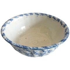 Large 19th Century Fluted Spongeware Bowl