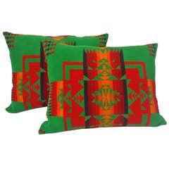 Amazing Early Pendleton Indian Design Camp Blanket Pillows