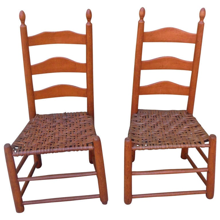 Pair of Shaker Style Ladderback Chairs - Shaker Furniture - 42 For Sale At 1stdibs