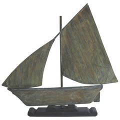 Fantastic 19th Century Patinad Sailboat Weathervane