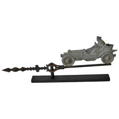 Early 20th Century Car and Driver Lightning Rod Weathervane