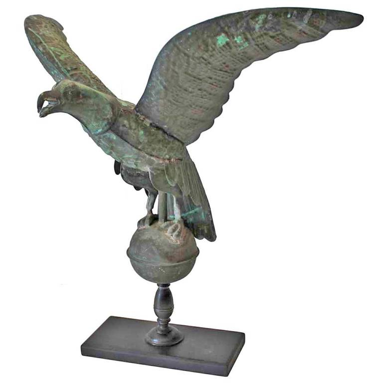 Vintage Wooden Weathervanes: Fantastic Mounted 19th Century Full Body Eagle Weather