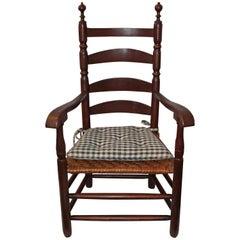 18th Century Original Painted Ladder Back Armchair