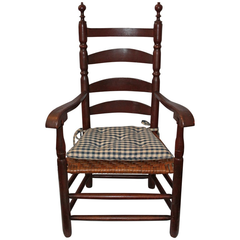 18th Century Original Painted Ladder Back Armchair For Sale
